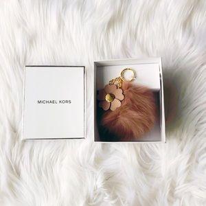 Michael Kors Flower Pom Pom Keychain ✨Brand New!